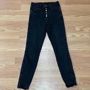 Zara Trafaluc | Black High Rise Skinny Jean Button